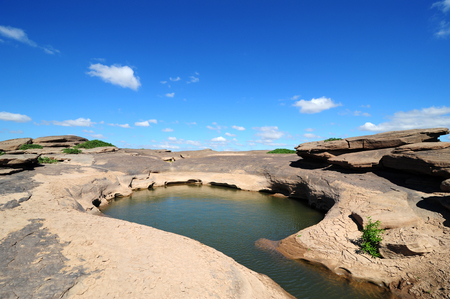 grand hard: Rock beauty in Mekhong river ,Ubonratchathani Thailand (Kang hin ngam)