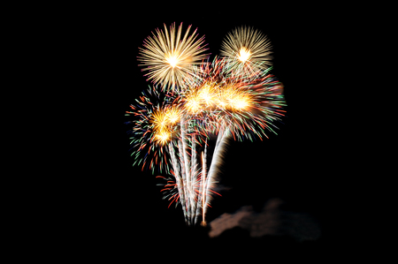 fireworks happy new year celebration in khonkaen province, thailand Standard-Bild