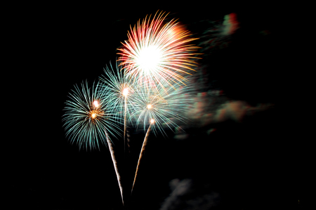 fireworks happy new year celebration Standard-Bild