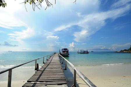 View the bridge into sea at Samed island or Koh Samed, Rayong Province, Thailand