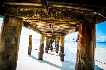 View under the bridge into sea at Samed island or Koh Samed, Rayong Province, Thailand