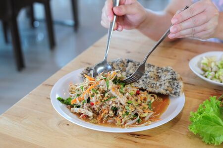 Vietname cuisine on wood table Standard-Bild