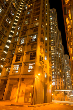 overcrowded: Enlighted Overcrowded apartments in a District of Hong Kong Stock Photo