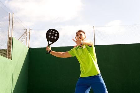cute guy: Cute guy playing Tennis in Madrid Stock Photo