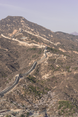 cold day: Endless Great Wall of China in Cold Day Stock Photo