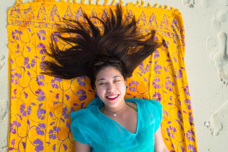 crazy hair: Crazy Hair on a Beach in Phuket Stock Photo