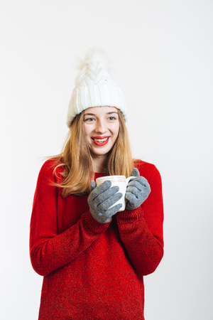 White Background: Happines in warm Clothes