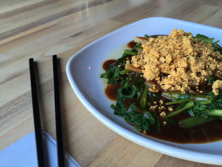 Vegetarian Food with chopsticks on a white plate 스톡 콘텐츠 - 100256847