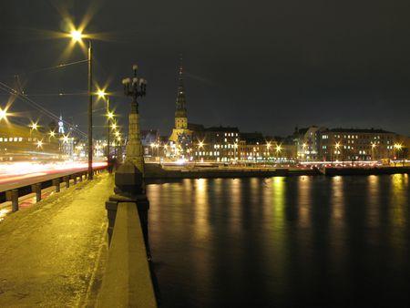 riga: Riga at night Stock Photo