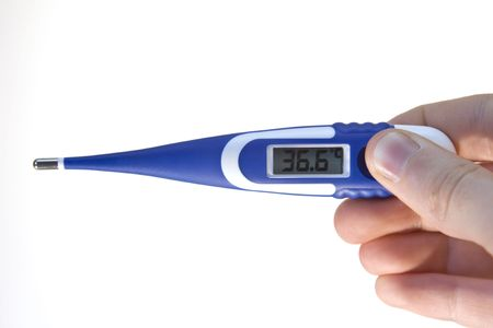 digital thermometer: Blue digital thermometer which shows 36.6 celsius degree on white background.