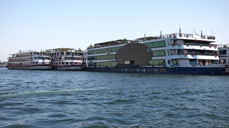Egypt - Nile cruise ship ships from the shore