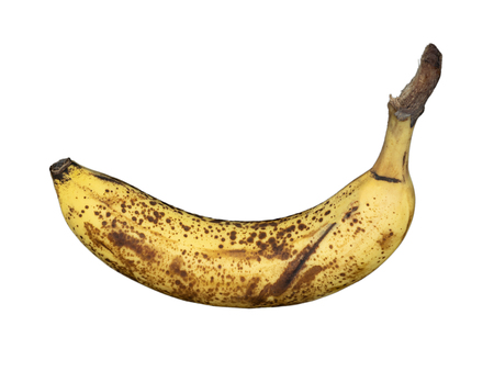 Banana fully ripe, overripe-white background-spots