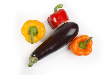 Fresh vegetables composition (aubergine, paprika) - isolated Stock Photo - 1079327