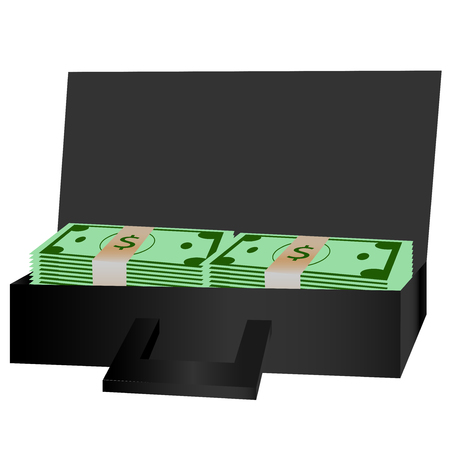 dosh: Stacked bundles of cash sitting in open briefcase. Illustration