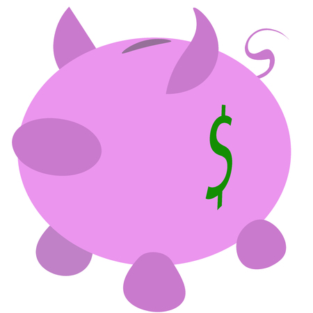 dosh: Abstract piggy bank with dollar sign print. Illustration