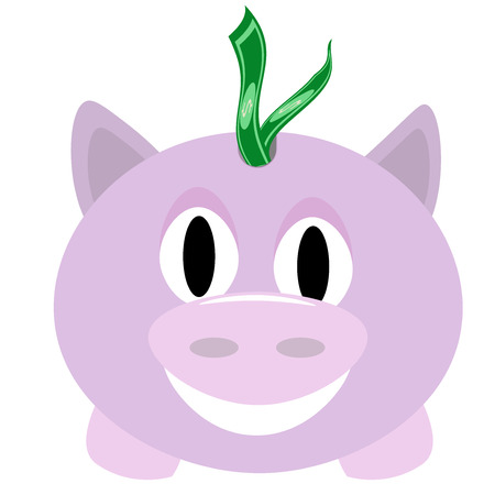 Smiling piggy bank with dollar bills stuffed in coin slot. Illustration