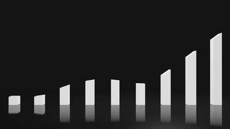 A white gradual rising and falling graph on a dark background that is perfect for representing a sharp gradual  trends