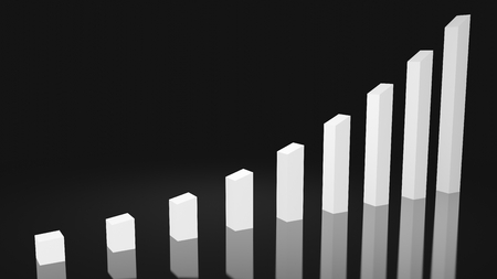 A white sharp rising graph on a dark background that is angled to the right giving it an impactful effect that is perfect for representing a sharp gradual upward trend