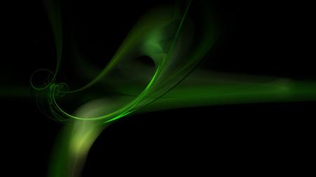 Green wispy flame fractal on a black background