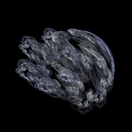 Ghostly organic fractal on a black background.  Stock Photo
