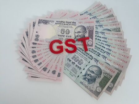 Goods and services tax with Indian currency notes