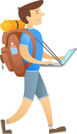 Travel blogger vector illustration Stock Illustratie