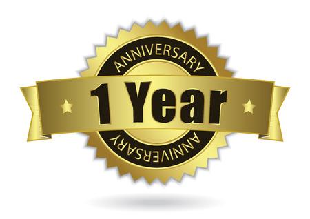 1 Years Anniversary - timbro d'oro con nastro Archivio Fotografico - 26193050