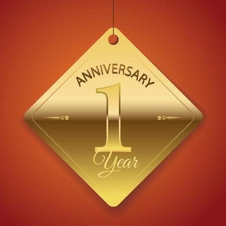 1 年記念日ポスター テンプレート タグ設計ベクトル