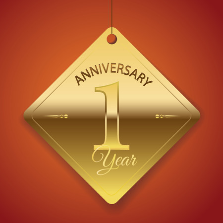 1 year anniversary: 1 Year Anniversary poster   template  tag design Vector
