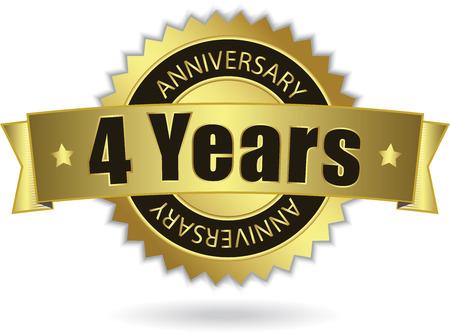 cyfra: 4 Years Anniversary - Retro Złota Wstążka Ilustracja
