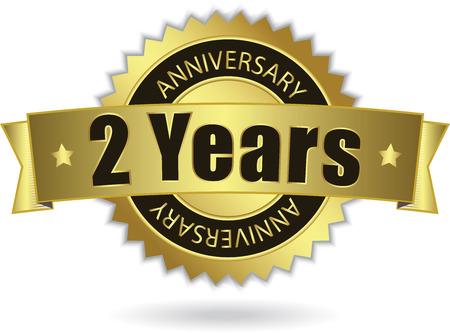 2 年記念日 - レトロな金色のリボン  イラスト・ベクター素材