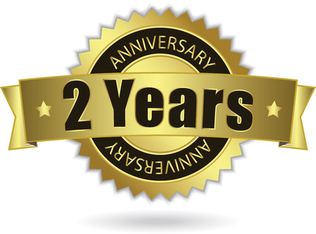 2 Years Anniversary  - Retro Golden Ribbon Vector