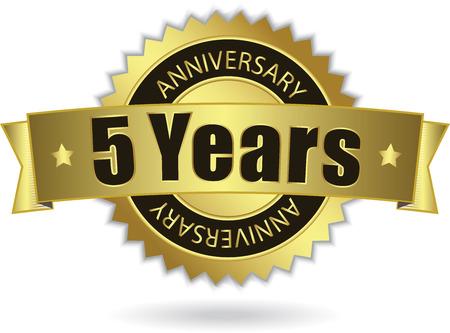 5 周年記念-レトロな金色のリボン  イラスト・ベクター素材