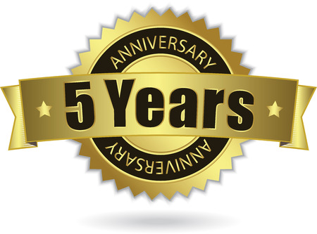 5 years:  5 Years Anniversary  - Retro Golden Ribbon