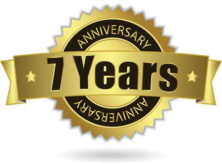 7 Years Anniversary  - Retro Golden Ribbon