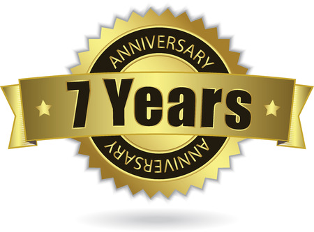 7 Years Anniversary  - Retro Golden Ribbon Vector
