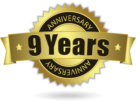9th:  9 Years Anniversary  - Retro Golden Ribbon Illustration