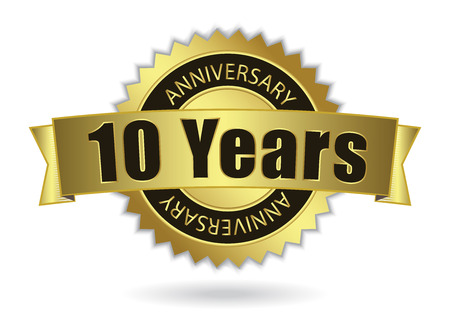 10 years:  10 Years Anniversary  - Retro Golden Ribbon