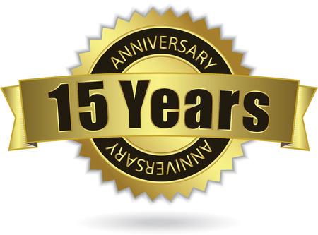 15 Years Anniversary  - Retro Golden Ribbon Vector