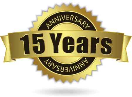 15 Years Anniversary  - Retro Golden Ribbon