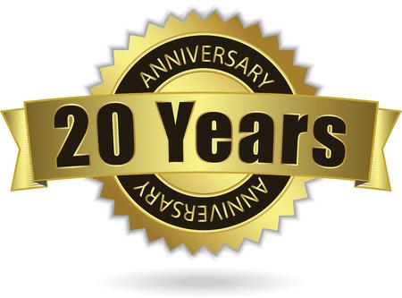 20 Years Anniversary  - Retro Golden Ribbon Reklamní fotografie - 26559923