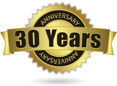 30 years:  30 Years Anniversary  - Retro Golden Ribbon