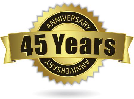 45 Years Anniversary  - Retro Golden Ribbon Vector