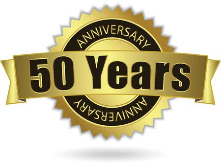 50:  50 Years Anniversary  - Retro Golden Ribbon, EPS 10 vector Illustration