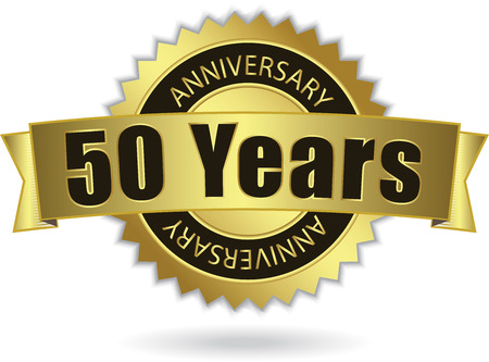 50 Years Anniversary  - Retro Golden Ribbon, EPS 10 vector Illustration
