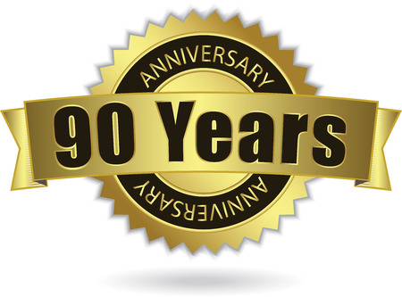 90 Years Anniversary  - Retro Golden Ribbon Vector