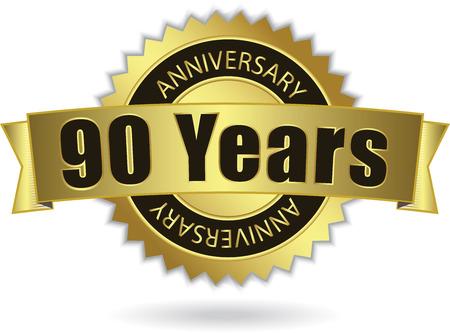 90 years:  90 Years Anniversary  - Retro Golden Ribbon