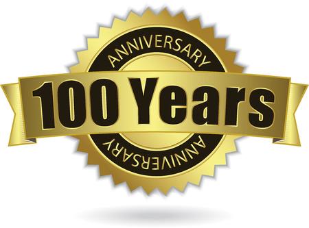 100 周年記念-レトロな金色のリボン  イラスト・ベクター素材