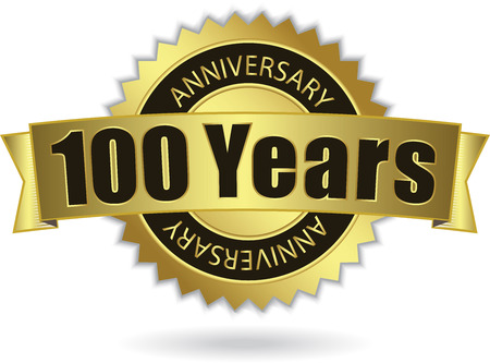 100 Years Anniversary  - Retro Golden Ribbon Illustration