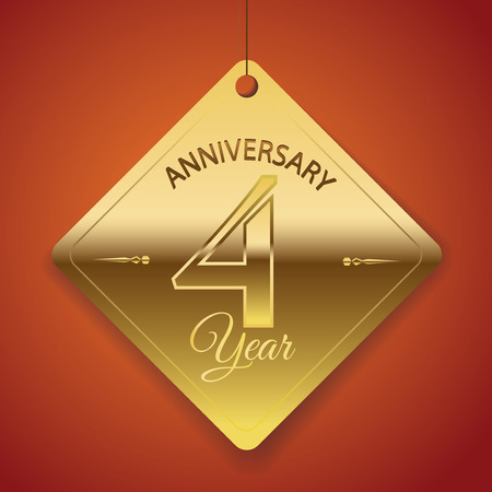 1 year anniversary: 4th Anniversary poster   template  tag design Vector Background